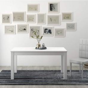 Tavolo da pranzo bianco allungabile di 40 cm, tavoli da cucina allungabili con gambe in faggio
