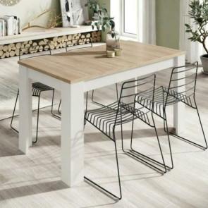 Tavolo da pranzo rovere allungabile di 50 cm, tavoli da cucina allungabili con gambe di colore bianco