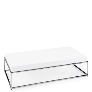 Tavolino salotto ikea laccato in MDF con base in acciaio cromato.