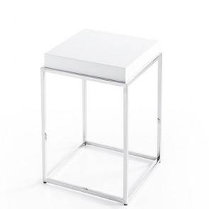 Tavolino salotto Angel Cerdà laccato in MDF, tavolini per salone con base in acciaio cromato.